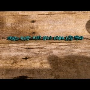 Jewelry - Sterling silver turquoise nugget bracelet 9 inch